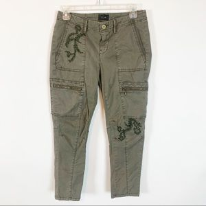White House Black Market Green Slim Crop Pants